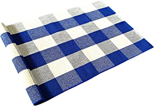 Levinis Blue Buffalo Plaid Rugs 2'×3'- Cotton Hand-Woven Rug Farmhouse Front Porch Rugs Outdoor Doormat Washable Buffalo Check Rug for Kitchen/Bathroom/Entry Way/Sink