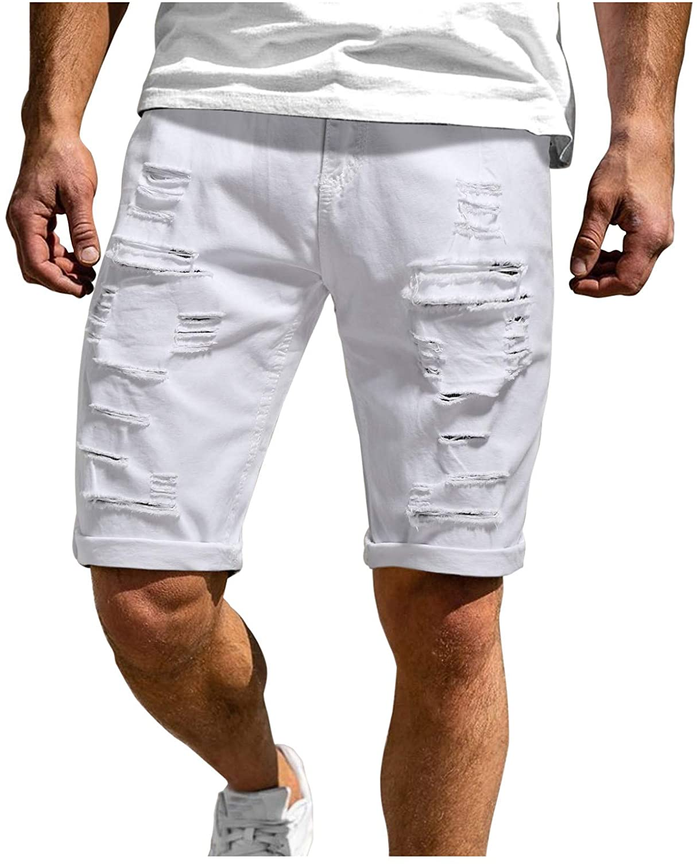 Yhjh Mens Casual Denim Shorts with Holes,Fashion 2021 Cargo Shorts Casual Summer Outdoors Bermuda Shorts Messenger Short