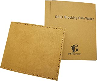 Slim Bifold Wallet with RFID Blocking Technology Durable and Eco-friendly Washable Kraft Paper Handmade Mighty Wallet with Coin Pocket Card Slots for Men