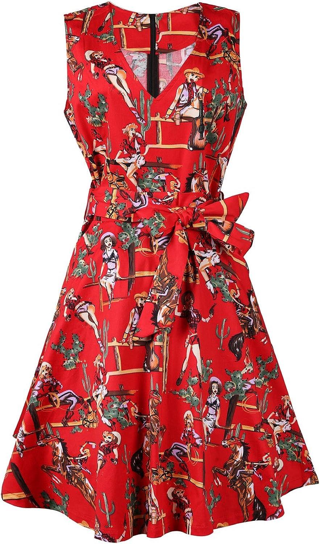 NEW FEEL Women's Floral Print VNeck Sleeveless Vintage Swing Dress