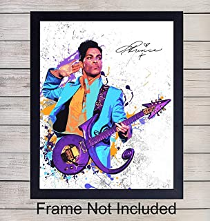 Prince Wall Art Print - Perfect Gift for 80s Music Rock n Roll Fans and Guitar Players - Cool Home Decor - Ready to Frame (8x10) Vintage Photo