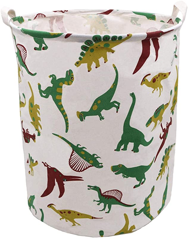 Extra Large Laundry Hamper 19 7x15 7 Inch ZUEXT Cotton Canvas Fabric Collapsible Organizer Basket Waterproof Clothes Laundry Hamper Toy Bins Dinosaur Gift Baskets For Bedroom Baby Nursery