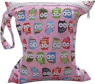 Bolsa de Pañales Reutilizable Bolsa con Cremallera Impermeable para mamá con Dibujo de Búho