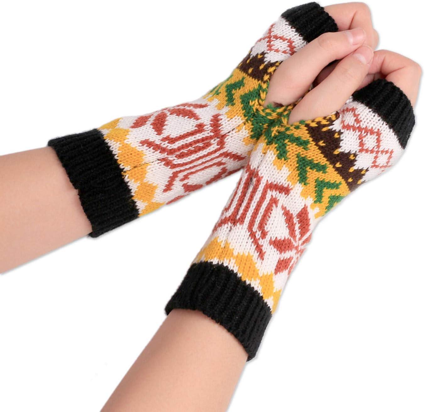 Smoxx Winter Gloves for Women, Fingerless Gloves for Women, Gloves for Women Cold Weather, Warm Gloves Girls Gloves, Fashion Women Wool Knit Fingerless Snowflake Pattern Keep Warm Gloves