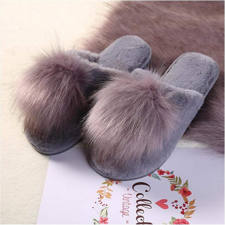Fur Slippers Soft Plush Ball Room Fluffy Slippers Winter Warm Slippers Home Basic Slippers