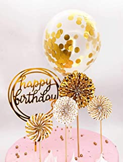 DeMissir Happy Birthday Cake Toppers, A Series of Golden Paper Fans, Acrylic Round Happy Birthday Golden Cupcake Topper, Confetti Balloon Birthday Cake Supplies Decorations Set-Golden
