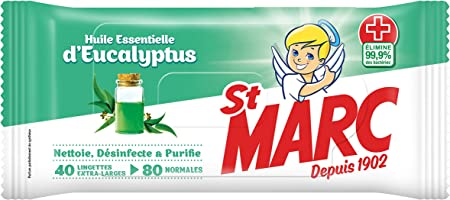 ST MARC Lot de 6 Lingettes Biod/égradables Nettoyantes et D/ésinfectantes 0/% r/ésidus agressifs x42