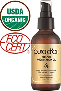 PURA D'OR Moroccan Argan Oil (4oz) for Hair, Face, Skin, Scalp & Nails - USDA Organic 100% Pure Cold Pressed Virgin Premium Grade Body Moisturizer treatment (packaging May Vary)