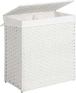 SONGMICS Handwoven Laundry Basket, Synthetic Rattan Divided Clothes Hamper with Lid and Handles, Foldable, Removable Liner Bag, White ULCB52WT