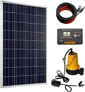 ECO-WORTHY Solar Well Pump Kit - 100 Watts Poly Solar Panel & 12V Water Pump with 20A Charge Controller for Pond, Fountain, Water Feature, Hydroponics, Aquarium, Aquaculture, Solar Pond Pump