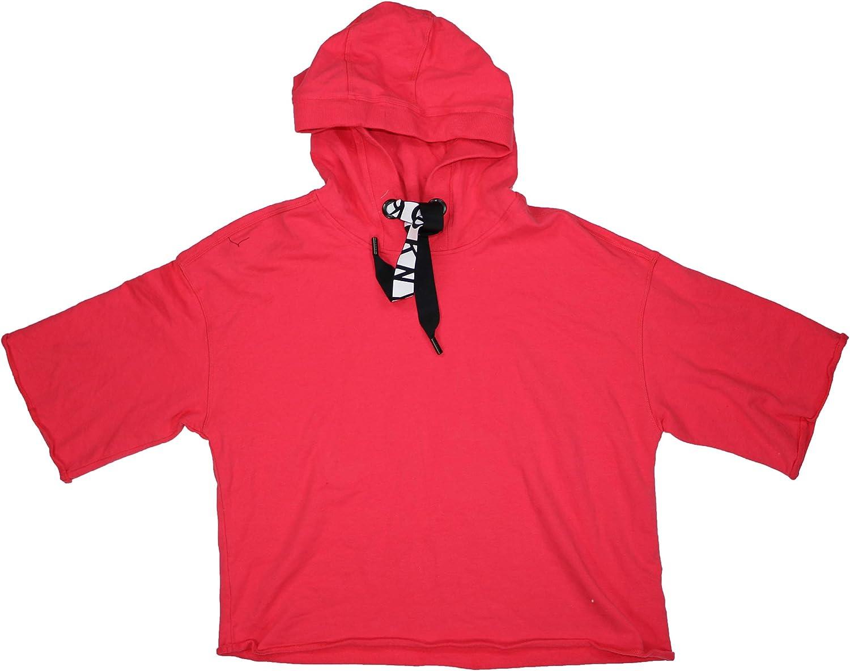DKNY Sport Boxy Fit Short Sleeve Drawstring Athletic Hoodie