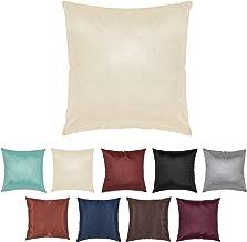 DreamHome 24 X 24 Inches Faux Silk Decorative Euro Pillow Cover/Sham (Ecru)