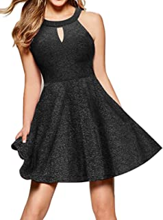 InsNova Women's Halter A-Line Cocktail Party Skater Dresses Keyhole Neck