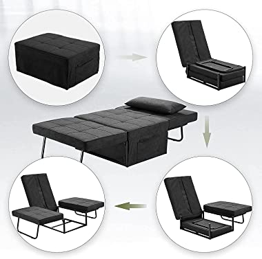 Sofa Bed, Convertible Chair 4 in 1 Multi Function Folding Ottoman Sleeper Bed, Modern Breathable Linen Guest Bed Adjustable B
