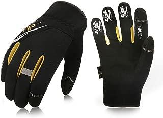 Vgo... 3Pairs High Dexterity Light Duty Mechanic Glove, Rigger Glove, Anti-Abrasion, Touchscreen(Size L, Black, SL8853)