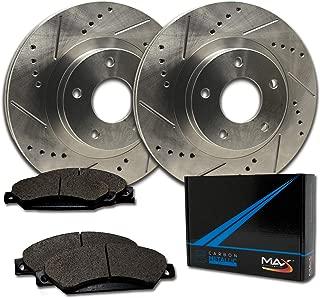 Max Brakes Front Performance Brake Kit [ Premium Slotted Drilled Rotors + Metallic Pads ] TA003231 Fits: 2002-2006 Toyota Camry 2.4L/3.0L