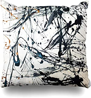 DIYCow Throw Pillow Cover Pillowcase Bright Red Modern Abstract Creative Hand Blue Expressionism Pollock Jackson Contemporary Paint Home Decor Design Square Size 16