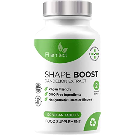 Pharmtect Shape Boost Tablets - Pure Dandelion Root 10:1 Strength Extract Supplements - Cleanse, Detox & Liver Support Formula - 120 Vegan Tablets - 60 Servings U.K. Made
