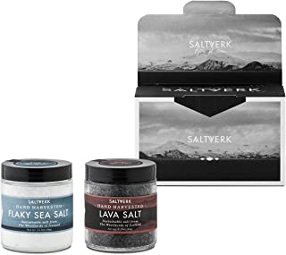 Saltverk Gift Box w/Lava salt + Pure salt, [3,17 oz x 2] | Flavoured salts | All natural | Sustainable | Gluten Free | Unrefined | Great for Grilling | Keto | Eco