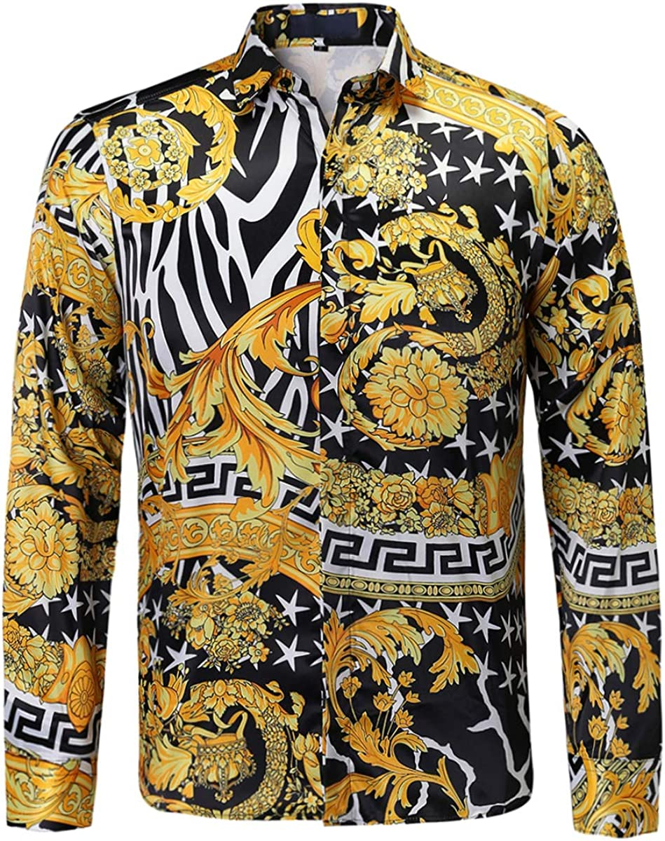 Mens Luxury Brand Printed Silk Like Satin Button Down Dress Shirt for Party Prom Long Sleeve Slim Fit Floral Nightclub Shirt