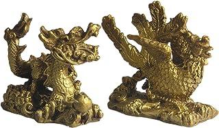 純粋な赤金の工芸品 龍と鳳凰  風水グッズ  お守り 雌雄二つセット 開業のギフト  置物 開運