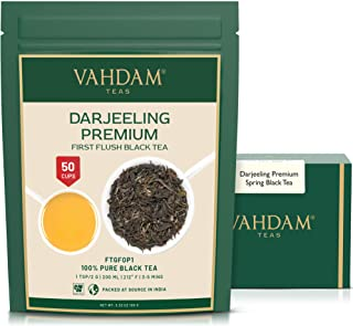 VAHDAM, First Flush Darjeeling Tea -50 Cups (3.53oz) | Loose Leaf Black Tea - Flowery, Aromatic & Delicious | Picked, Pack...