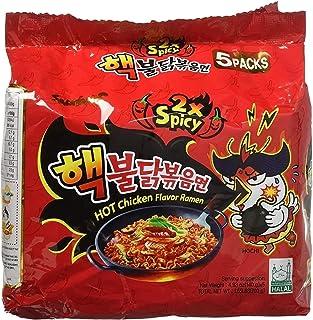 scharfe nudeln SamYang Instant Bratnudelne Super Hot Chicken - Ramen, Double Spicy Halal 5er Pack