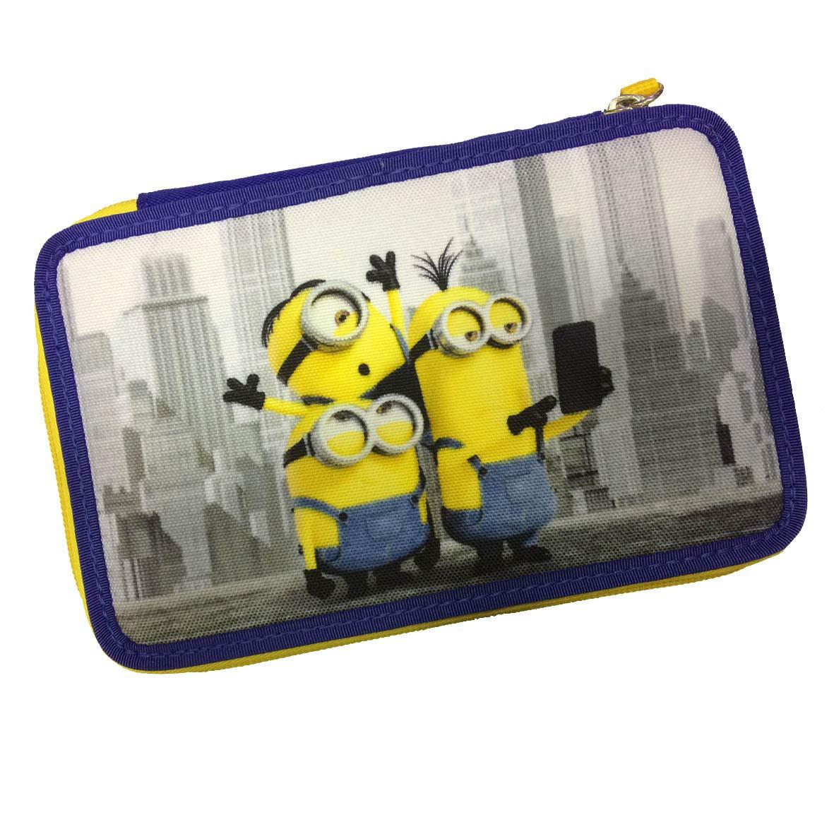 Estuche completo 3 pisos Minions amarillo azul completo + llavero silbato: Amazon.es: Oficina y papelería
