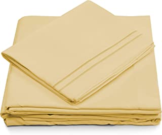 Queen Size Bed Sheets - Pastel Yellow Luxury Sheet Set - Deep Pocket - Super Soft Hotel Bedding - Cool & Wrinkle Free - 1 Fitted, 1 Flat, 2 Pillow Cases - Light Yellow Queen Sheets - 4 Piece