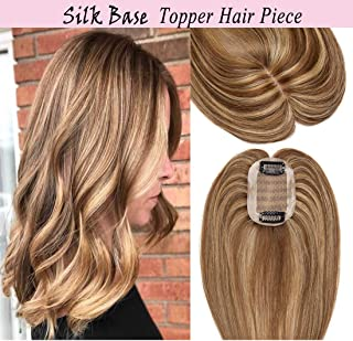 S-noilite Silk Base Human Hair Topper for Women Top Hairpiece Clips in Crown Hand Made Toupee Replacement for Hair Loss Thinning Hair Cover Gray Hair(16