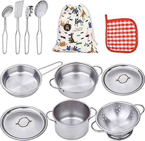 13Pcs Kids Play Toy Kitchen Utensils Cooking Pots Pans Food Dishes Cookware DEN