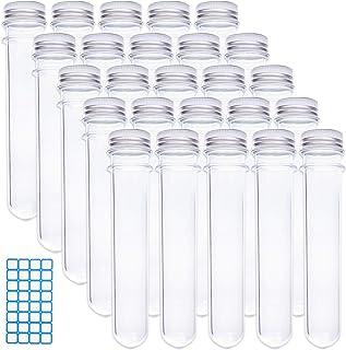 Rainbow-B 25pcs 25x140mm (45ml) لوله های آزمایشگاهی پلاستیکی Clear Caps با 1 ورق از 32 تابلوچسبها برچسب