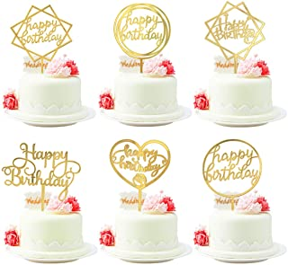 6 PCs Happy Birthday Cake Topper Acrylic Cupcake Topper Birthday Party Cake Supplies Decorations