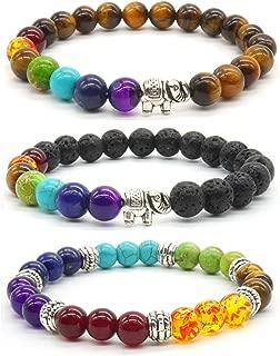 3x Lucky Elephant Bracelet Partner Bracelet Colored Agate Stone Friendship Bracelet Set