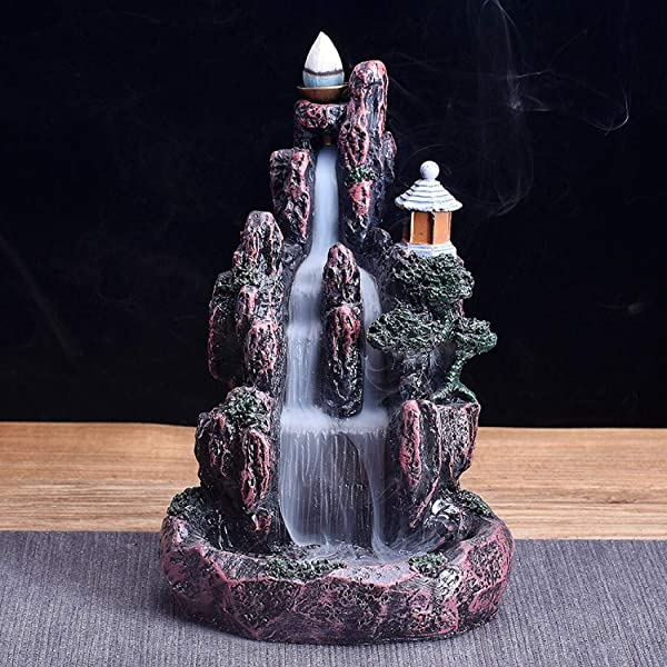 Waterfall Backflow Incense Burner Holder Mountain Ceramic Incense Holder Handmade Cone Stick Incense Holder 10 Cone Incense Free LED Colorful Style 3