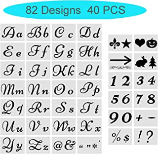 Letter Stencils for Painting on Wood - Large Alphabet Numbers Signs Calligraphy Font Upper and Lowercase Letters Stencils - Reusable Holiday Plastic Fancy Art Craft Stencils - 40Pcs 82 Designs