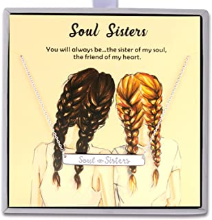 Soul Sister Necklace - 925 Sterling Silver Adjustable Engraved Bar Pendant Friendship Graduation Christmas Jewelry Birthday Gift