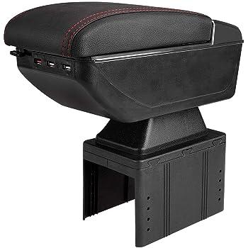 アームレスト車 肘掛け コンソールボックス SuperPDR DIYアームレスト収納ボックス 7つUSB充電ポート搭載 自動点灯ライト機能 灰皿付き 軽自動車アームレスト 汎用【1年品質保証】