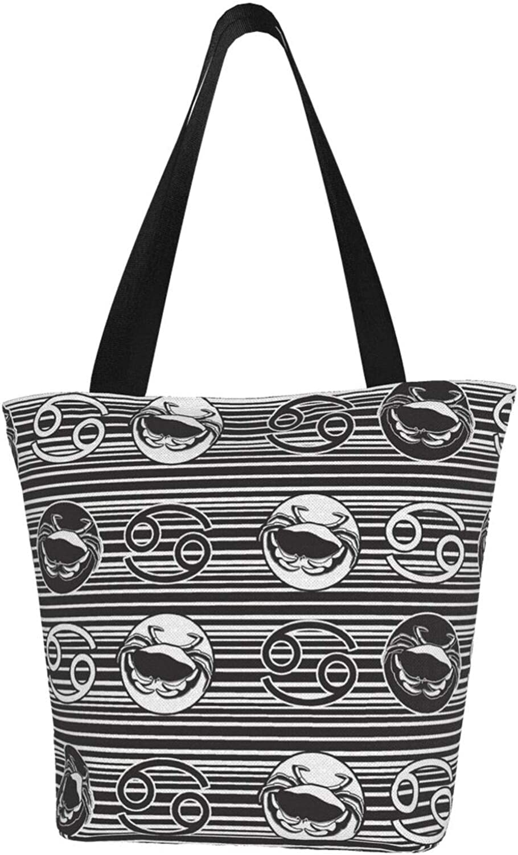 Cancer Zodiac Constellation Charm Crab Themed Printed Women Canvas Handbag Zipper Shoulder Bag Work Booksbag Tote Purse Leisure Hobo Bag For Shopping