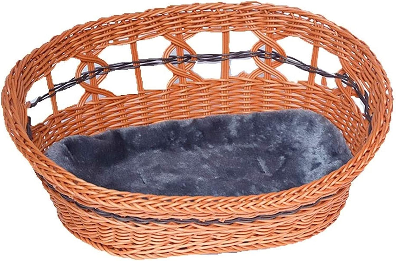 Getrichar Camas Pet Mascotas Cesta de Mascotas Rattan Tejido cómodo Hecho a Mano Cat Nest Test Hollow Style Casa para Mascotas para Gato/Perro Run-Anmy (Color: Marrón, Tamaño: M)