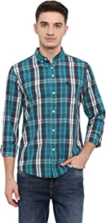 Red Tape Men's Checkered Regular Fit Casual Shirt (RSF8526A_Aqua Green_M)