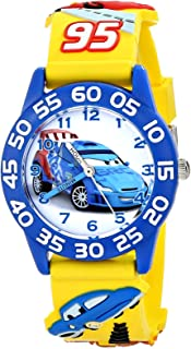 Disney Boys' Cars 3D Plastic Yellow Time Teacher Watch