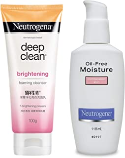 Neutrogena Oil-Free Moisture Combination Skin Moisturizer, 118ml & Neutrogena Deep Clean Brightnening Foaming Cleanser For...