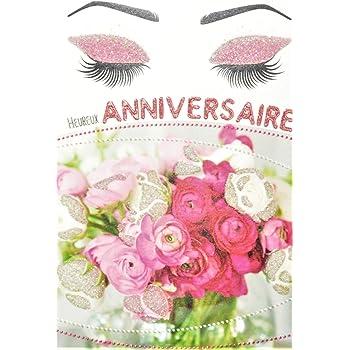 Afie Carte Heureux Anniversaire Avec Paillettes Femme Qui Sent Un Bouquet De Fleurs Roses Et Blanches Maquillage Mascara Fabrique En France Amazon Fr Fournitures De Bureau