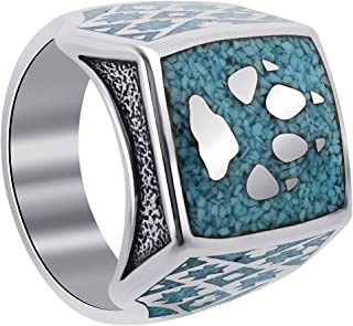 Mens 925 Sterling Silver Southwestern Style Turquoise Gemstone Wolf Paw with Claw Ring