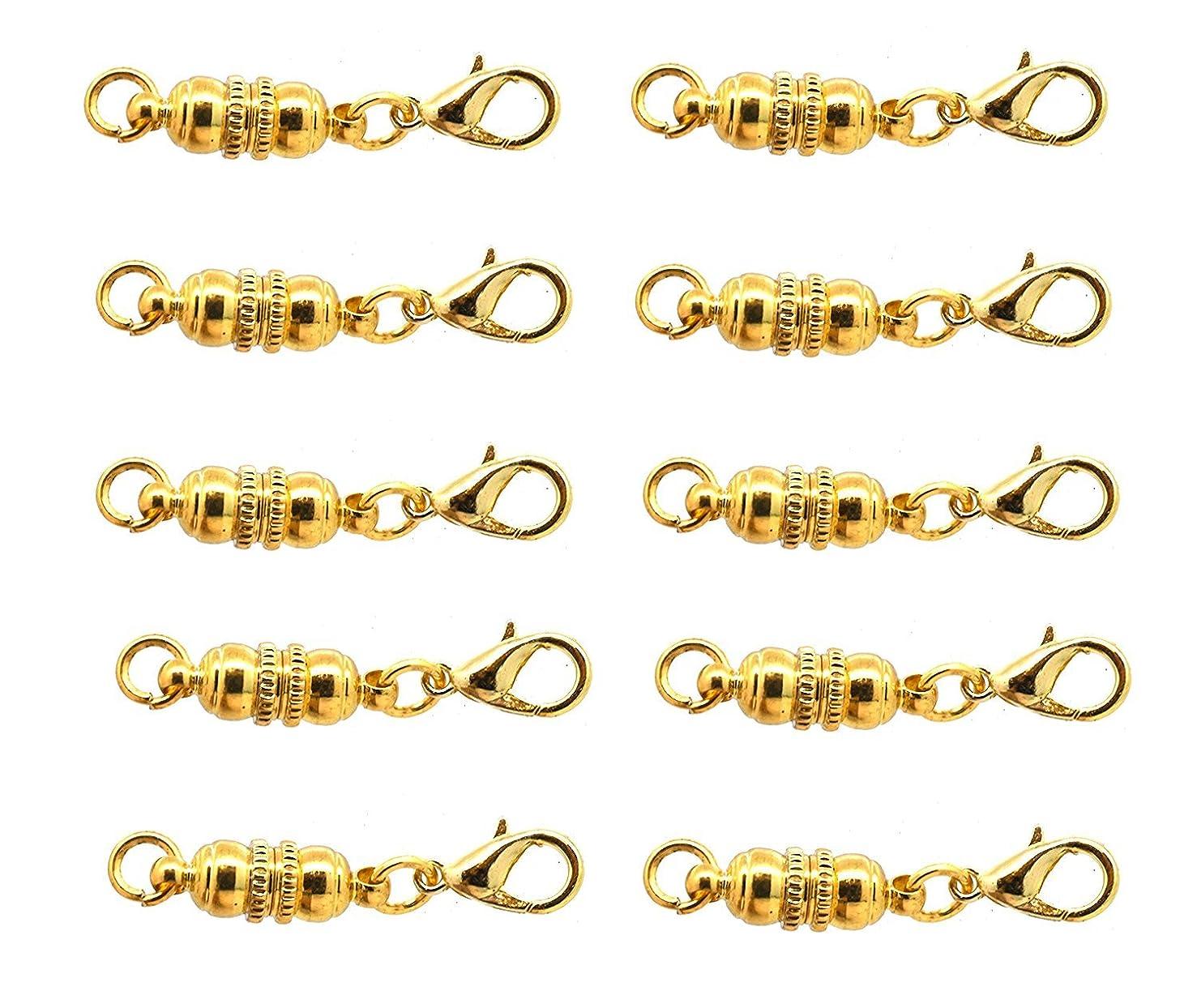 SPARIK ENJOY (TM) 10 pcs Gold Tone Jewelry Making Magnetic Hooks Necklace Extenders Magnetic Jewelry Extenders for bracelets, & necklaces (Unique Gold Tone)