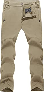 MAGCOMSEN Men's Winter Fleece Lined Pants 5 Zipper Pockets Water Resistant Snow Ski Hiking Pants