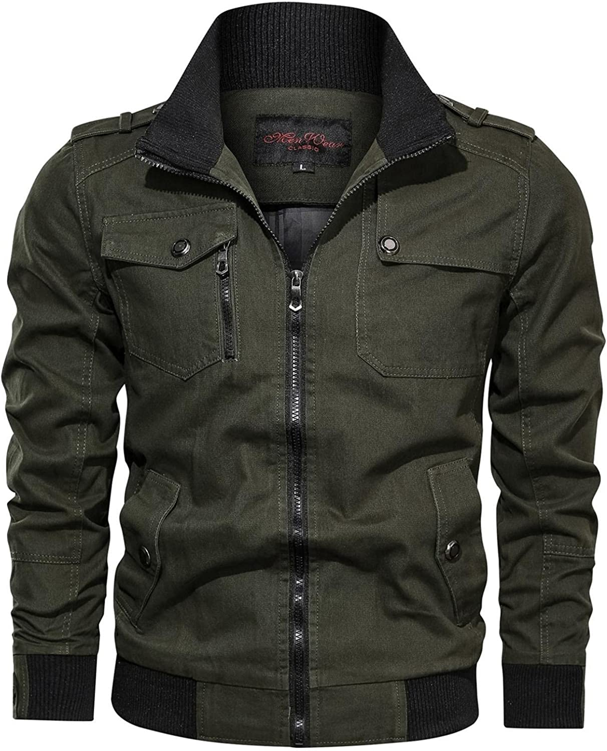 LEIYAN Mens Bomber Jackets Casual Slim Fit Zip Up Stand Collar Warm Cargo Military Coat Trucker Coat Plus Size