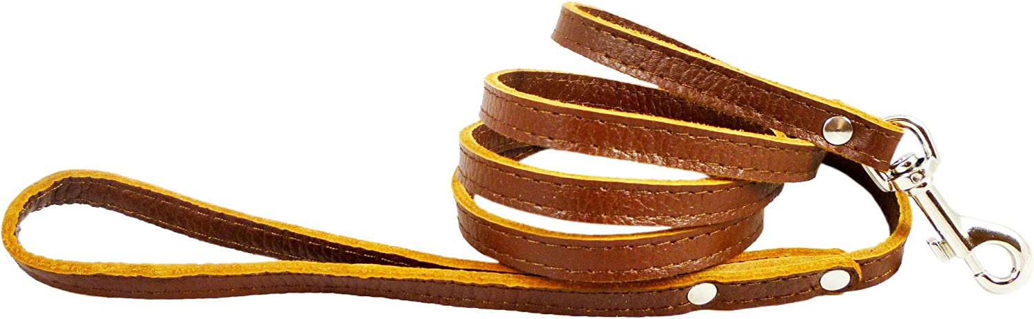 4foot Genuine Leather 1 2  Wide Dog Leash for Small Breeds