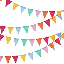 24 Pieces Multicolored Triangle Flags 15.7 Feet Bunting Banner for Party Decoration